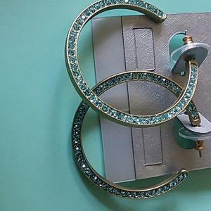 Aqua rhinestone hoops earrings